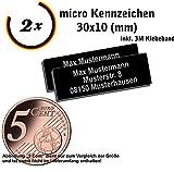 Gravierwerkstatt-Salomon 2X Micro Drohnen Kennzeichen Aluminium elox. 30x10mm Drohnen Plakette mit...