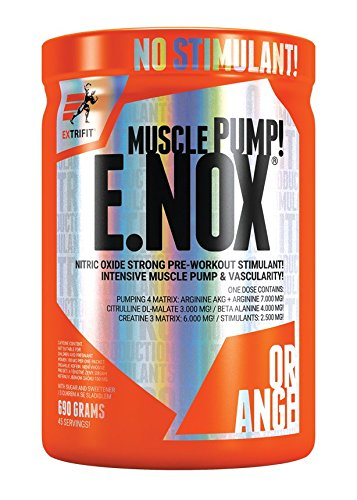 Extrifit E.NOX Shock Pakket van 1 x 690g – NO Booster - Aminozuur - Arginine AKG - Citrulline - Beta Alanine - Taurine - Creatine en Groene Thee-Extract met Cafeïne (Orange)