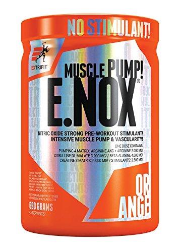 Extrifit E.NOX Shock Paquete de 1 x 690 g - NO Booster - Aminoacido - Arginina AKG - Citrulina - Beta Alanina - Taurina - Creatina y Extracto de Te Verde con Cafeina (Orange)