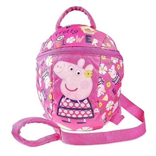 Peppa Pig Backpack with Reins Toddler Baby Kids Girls Backpack with detachable safety reins for parental control