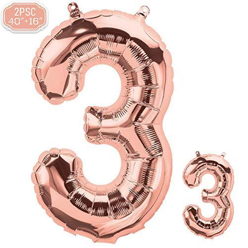 """FUNXGO Folienballon Zahl in Rose Gold 2 Stück - 40\""""/100cm +16\""""/40cm - Folienballons für Helium und Luft als Geburtstag, Hochzeit , Jubiläum oder Abschluss Geschenk , Party Dekoration (Rosegold[3])"""