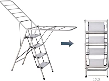 MJY Multipurposemulti-Function Ladder, Dual Use Folding Stepladder Drying Rack Four Steps Ladder - Ladders for Indoor and Outdoor Use - (Size : 20 86 101Cm),2086101Cm