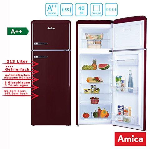Amica Retro Nevera/Congelador Vino Rojo KGC 15631R A + + 213L, con * * * *...