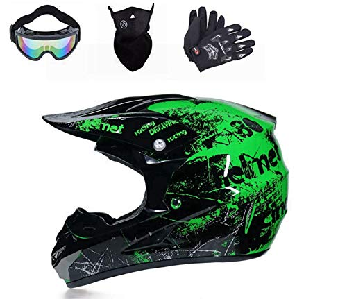 Casco de moto de cross con visera, gafas y guantes, casco de...