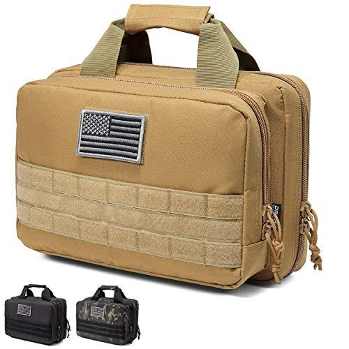DBTAC Gun Range Bag XS   Tactical 1~2 Pistol Bag Firearm Shooting Case with Lockable Zipper for Handguns and Ammo (Tan)