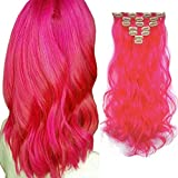 iLUU 20 Inch Hot Pink Colored Party Cosplay Wavy Curly Hair Clip in Extensions 20' 100g Heat-Resistant Synthetic Hair Extensions 7pcs Full Head Hair Pieces 16 Clips ins (#8C-Hot Pink)