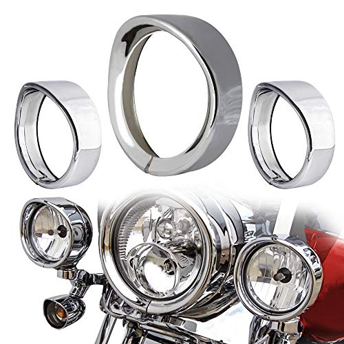NTHREEAUTO Chrome Motorcycle Lights Frenched Ring Kit Compatible with Harley, 7' Headlight Trim Ring Decorate Visor + 4 1/2' Fog Light...