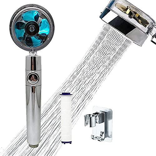 Pommeau de douche à main à hélice haute pression, pommeau de douche à 360 ° Pomme de douche rotative à économie d'eau turbocompressée, avec filtre et interrupteur, pour pomme de douche de bain (Blue)