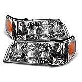 ACANII - For 1998-2011 Ford Crown Victoria Headlights Headlamps+Corner Parking Signal Lights Driver + Passenger