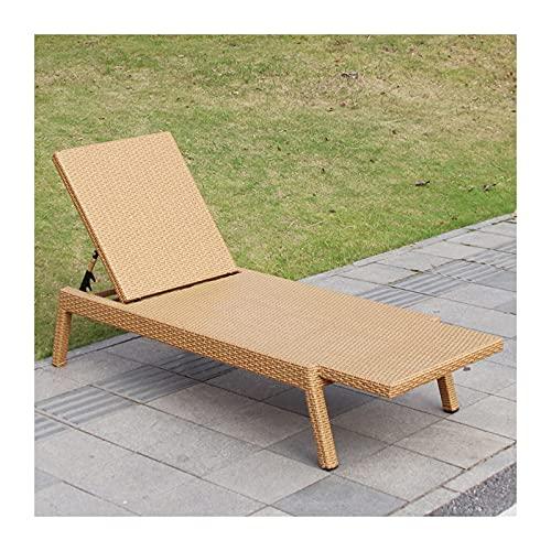 QULONG Sedia da Giardino Sedia da Esterno Regolabile in Metallo Chaise Lounge Sedia reclinabile Fatta a Mano PE Rattan Intreccio reclinabile Patio Lounge Chair