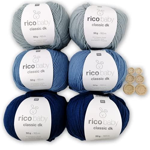 Woll-Set Babywolle Rico Baby Classic dk 6x50g - weiche Wolle / Baumwollmischgarn - Strickpaket mit 6 Knöpfen zum Stricken & Häkeln