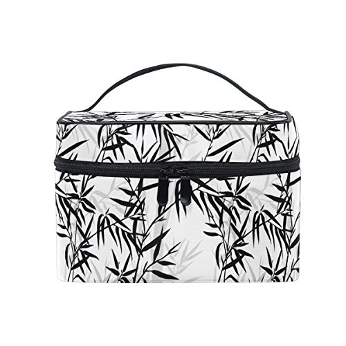 HaJie - Bolsa de maquillaje de gran capacidad, organizador de bambú japonés, para viajes, portátil, neceser de almacenamiento, bolsa de lavado para mujeres y niñas
