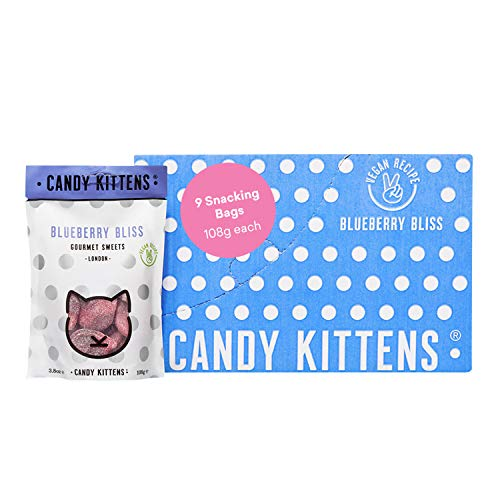 Candy Kittens Vegan Sweets - Gluten-Free - Natural Fruit Flavour Candy - Gummy Chewy Gourmet Sweets - Blueberry Bliss, 108g (Pack of 9)