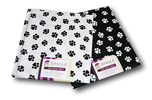 Creative Cuts Paw Prints Fat Quarters Bundle - Black and White Pattern Theme