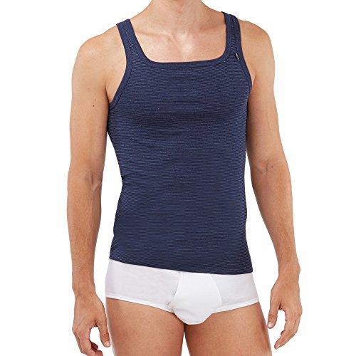 SCHÖLLER Herren Unterhemd ohne Arm 5er Pack l 146-600 l Größe 8 (XXL) l Farbe Navy-Melange