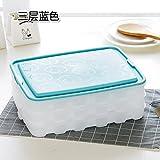 KXZDAS Cocina Dumpling congelado-Caja con Tapa Nevera congelados Frescos Dumplings Dumplings Rellenos con Cajas de Alimentos congelados Caja de Almacenamiento de palets de Tres Capas Azul