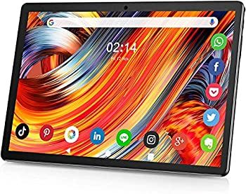 Tablet 10 Inch IPS HD Display Touchscreen Android 9.0 GMS Phone Tablet Support 2G/3G Sim Cards Quad-Core 2GB Ram 32GB ROM Long Lasting Battery 5MP Rear Camera WiFi Bluetooth GPS-Black