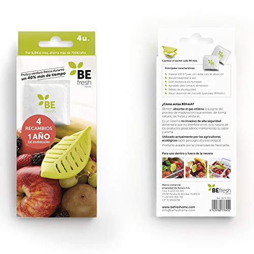 BEfresh Home - Frutas y Verduras Frescas Durante un 40% más de Tiempo   para Uso Dentro y Fuera de la Nevera   Recambio de 1 año   4 Sachets   No Incluye Hoja Recipiente   Made in Spain