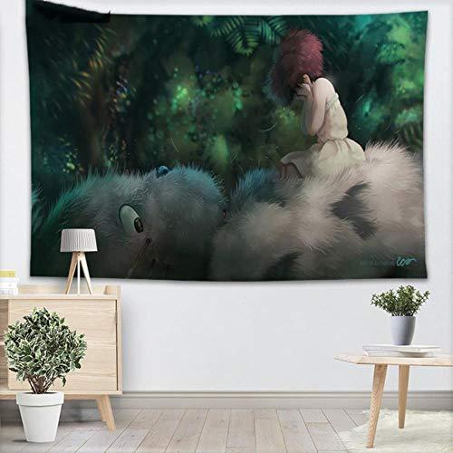 Tapiz de pared personalizado de Studio Ghibli, decoración del hogar, tapices de bosque para colgar en la pared para dormitorio, 130x150CM, 140x250CM