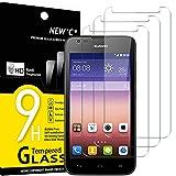 NEW'C 3 Stück, Schutzfolie Panzerglas für Huawei Ascend Y550, Frei von Kratzern, 9H Festigkeit, HD Bildschirmschutzfolie, 0.33mm Ultra-klar, Ultrawiderstandsfähig