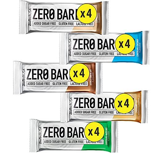 Zero Bar Biotech Usa mix: 4 Barrette Nocciola al Cioccolato, 4 barrette Cioccolato Cookies, 4 barrette Doppio Cioccolato, 4 barrette Cioccolato al Cocco, 4 Barrette Cappuccino