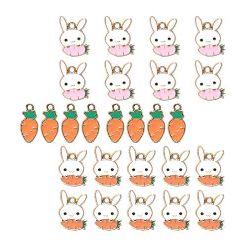 Gadpiparty 30 Piezas de Metal Colgante de Conejo de Pascua Zanahoria Encanto de Conejo Accesorios para Manualidades DIY para Llavero Collar Pulsera Fabricación de Joyas