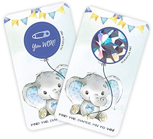 30 Baby Shower Scratch Off Games, Blue Elephant Lottery Ticket Raffle Card Game, Party Activities, Decorations, and Supplies- It's a Boy