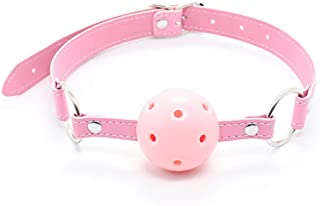 Role Play Mandatory Mouth Yoke Faux Leather Mouth Open Gag Play Ball O-Ring Costume Cosplay Masquerade Hallowmas Funny Toy (Pink)