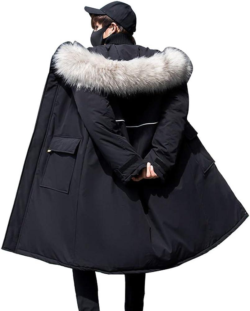 Down Jacket Winter Cotton Jacket, Men's Thicken Medium Long Hooded, Outdoor Winter Clothing, Material: Polyester Fiber/Filling: Imitation Silk Cotton Black