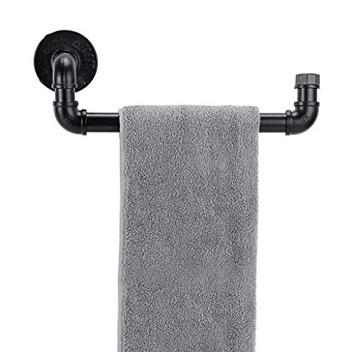 Juego de accesorios para barra de toalla Industrial Pipe de Pipe Decor  Montado en la pared, estilo DIY, resistente, hierro rústico, negro, galvanizado, acabado libre de óxido con herrajes de montaje