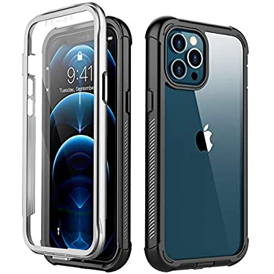 Redpepper Compatible with iPhone 12 Pro Max Case, Built-in Screen Protector Heavy Duty Full Body Shockproof Case (Black/Clear)