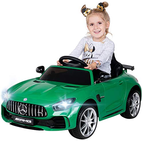Actionbikes Motors Kinder Elektroauto Mercedes Amg GT-R - lizenziert – 2 x 25 Watt Motor – Ledersitz - Eva Reifen – Softstart - Kinderauto (Grün)