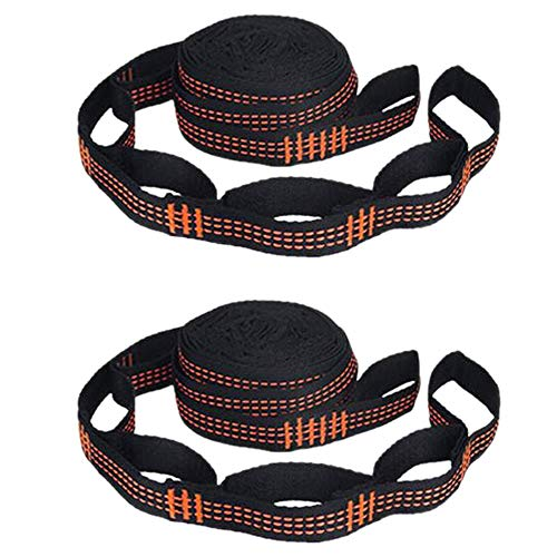 TOOGOO 2 Piezas Correas de Hamaca con 5 Anillos de Alta Carga de PoliéSter Reforzado para Hamaca Exterior para el Hogar, Color Naranja