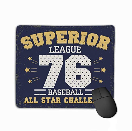 Kundenspezifische Rechteck Mousepad, niedliche Gaming Mauspad Matte Baseball Grafikdesign All Stars Meisterschaft Typografie Emblem Sport Wearhirt Stempel Vintage Print