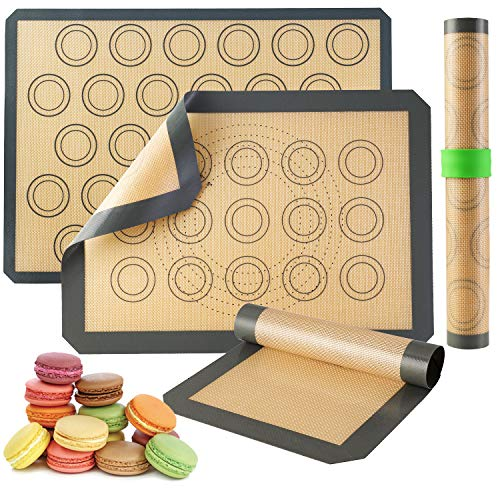 Silicone Baking Mats-Non Stick Cookie Sheet Macaron Mat Liner for Bake Pans & Rolling,Perfect Bakeware For Bread Making Pastry Cake Brioche Pizza Thick/BPA Free Set (2 Half Sheets &1 Quarter Sheet)