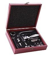 set di accessori per vino, 9 pezzi, composto da cavatappi a leva, versatore, tappi in lega, termometro, tagliacapsule, spirali di ricambio e anello antigoccia, con custodia in legno