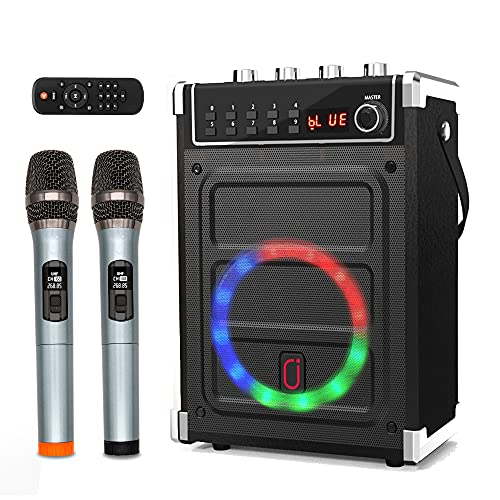 JYX Karaoke Machine with Two Wireless Microphones, Bass/Treble Adjustment and LED Light, Support TWS, AUX In, FM Radio, REC, Supply for Party/Meeting/Wedding - Black