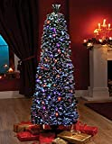 FB FunkyBuys® Green Fibre Optic SLIM PENCIL Christmas Xmas Tree Pine w/Multicolor LEDs PLASTIC Stand Best - 6ft (220 Tips) w/ 8 Setting Controller & TOP STAR