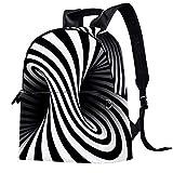 Mochila de piel para escuela, universidad, viajes, oficina, portátil, para mujeres, hombres, diseño psicodélico en espiral, color negro y blanco