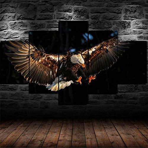 45Tdfc 200×100cmLienzo de Pintura 5 Piezas Flying Eagle Raptor Bird Sky Lienzo Pintura Pared Arte Imagen para Sala Moderna impresión Dormitorio