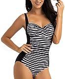 WIN.MAX Traje de baño Acolchado para Reducir Barriga, Traje de baño de Talla Grande para Mujeres Monokinis Vintage Push up (Negro&Blanco, EU40)
