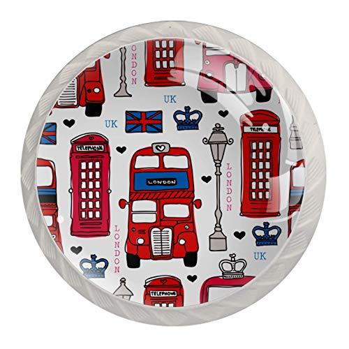 4 pomos para cajones y cajones, diseño de Londres y autobuses