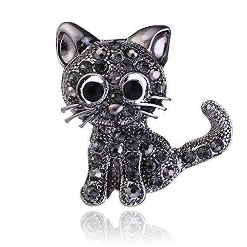 U/N Broche de Gatito Tachonado de Diamantes, Broche de Animal de Moda con Personalidad, Pin de Cuello