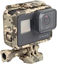 Williamcr Camouflage Gray Protective Frame Mount Stand Housing Case for GoPro HERO7/6/5 Black and Hero (2018) Side Open Mount Shell Cover