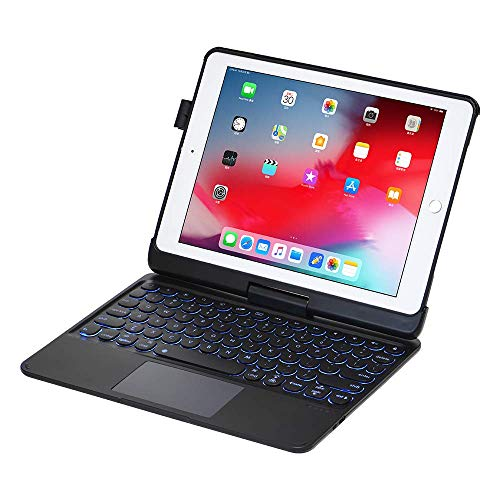 iPad Keyboard Case for 9.7 iPad 2018 (6th Generation) - iPad 2017 (5th Generation) - iPad Pro 9.7 - iPad Air 2&1-360 Rotatable - Backlit 7 Colors - iPad Case with Keyboard for iPad OS (Black)