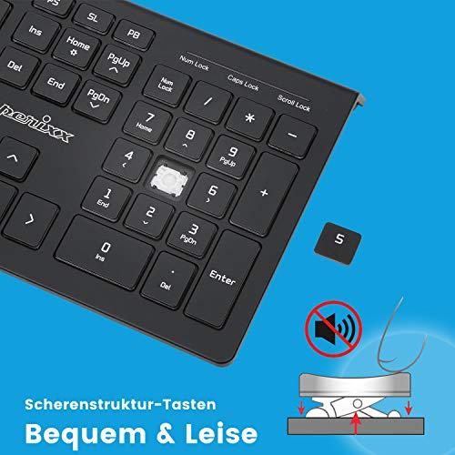 Perixx PERIBOARD-324 Kabelgebundene Tastatur mit Hintergrundbeleuchtung - 2 Hubs - X-Scherentasten - Standartgröße - Weiße Hintergrundbeleuchtung, 11638