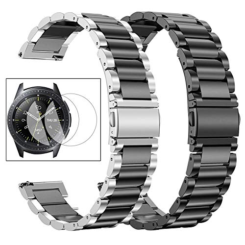 Oitom Stainless Steel Bands Compatible with Samsung Galaxy Watch 46mm Gear S3 Classic/Frontier Men XL Large,Heavy Duty Solid Metal Watch Band with Screen Protector Pack 2(Silver/Black+Black)