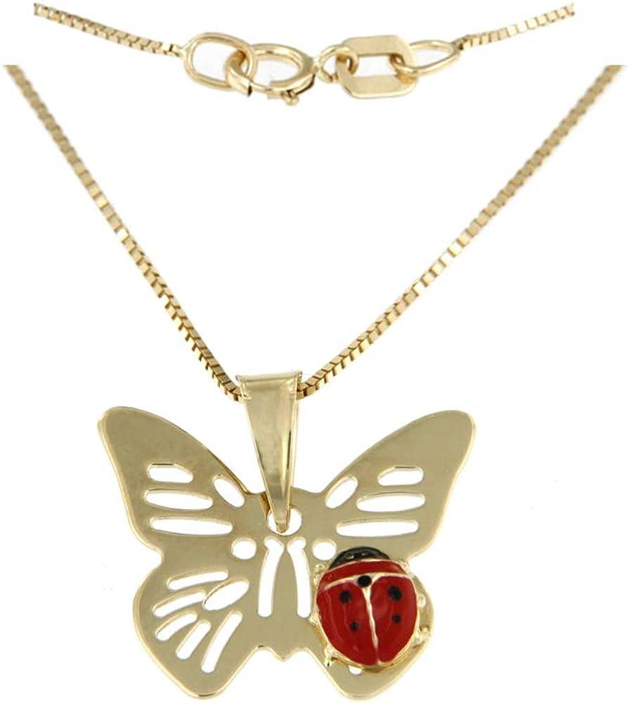 Lucchetta gioielli - farfalla con coccinella pendente e catenina in oro giallo 14kct(585)(1,45gr) per donna 4P4805M