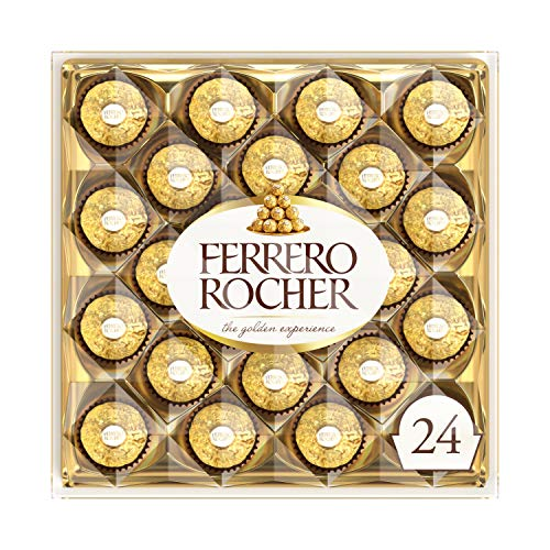 Ferrero Rocher Fine Hazelnut Milk Chocolate, 24 Count, Chocolate Candy Gift Box, 10.5 oz