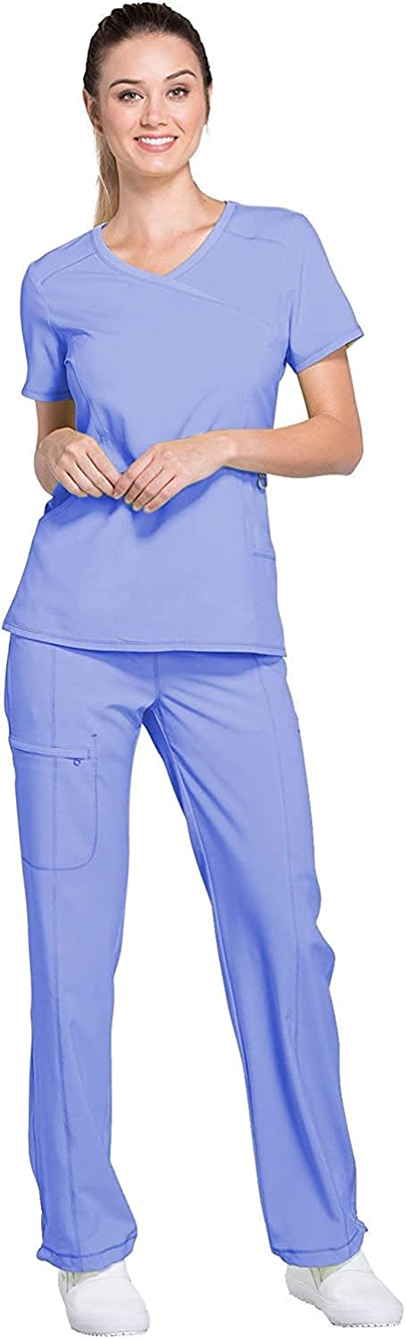 Infinity Women Scrubs Set Mock Wrap Top 2625A & Low Rise Slim Pull-On Pant 1124A: Clothing, Shoes & Jewelry